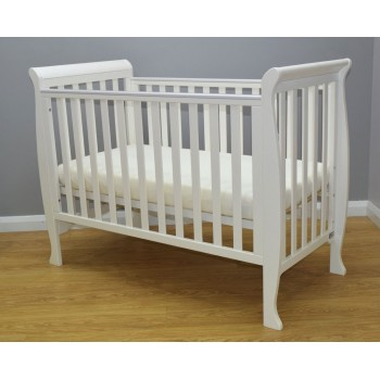 BRbaby Milan Sleigh Cot - White